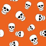 Seamless pattern with skulls on orange background. Seamless pattern with scattered sculls on orange background stock illustration