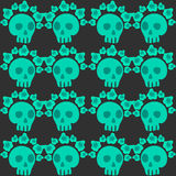 Seamless pattern with skulls and roses. Mexican Day of the Dead. Cute doodle drawing Stock Images