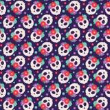 Seamless pattern with skulls royalty free illustration
