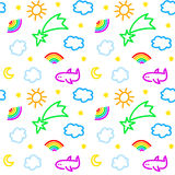 Seamless pattern with sky objects, in vector.  Royalty Free Stock Photo