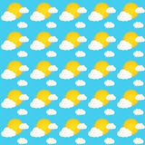 Seamless pattern of sky during sunny day with sun and clouds Stock Photos
