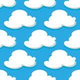 Seamless pattern of sky and white clouds Royalty Free Stock Images