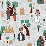 Seamless pattern with Slavic people. Stylized drawings with Slavic people, houses, plants. Seamless pattern Stock Image