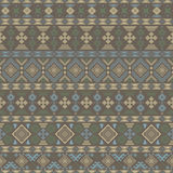Seamless pattern with Slavic style elements. In brown, yellow, blue, green colors. Horizontal chains of various geometric shapes forming elegant ethnic ornament Stock Photo