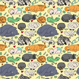 Seamless pattern with sleeping animals and baby. Royalty Free Stock Photography