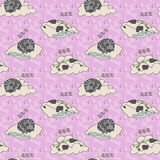 Seamless pattern with sleeping animals. Royalty Free Stock Image