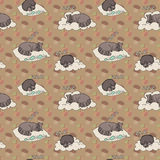 Seamless pattern with sleeping animals. Stock Image