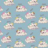 Seamless pattern with sleeping babies. Stock Photo