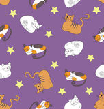 Seamless pattern with sleeping cats. Seamless pattern with funny sleeping cats and stars on the violet background Royalty Free Stock Photo