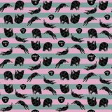 Seamless pattern with sleeping cats. Seamless pattern with sleeping cats on striped background. Vector illustration. Typography design elements for prints Stock Photo