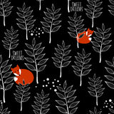 Seamless pattern with sleeping fox and winter Royalty Free Stock Image