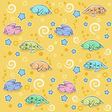 Seamless pattern with sleeping rabbits Royalty Free Stock Images