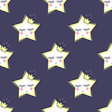 Seamless pattern with sleeping stars for kids. Cute baby shower vector background. Royalty Free Stock Photography