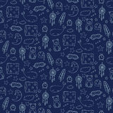 Seamless pattern with sleeping whales, pillows, stars, etc Stock Photo