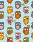 Seamless Pattern with Sleepy Color Owls on a Sunny Day Stock Photo