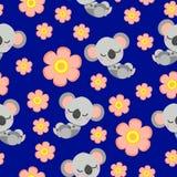 Seamless pattern with sleepy koala and pink flower