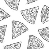 Seamless Pattern slice pizza. Vintage  engraving illustration for poster, menu, box. Isolated on white background Royalty Free Stock Photography