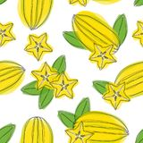 Seamless pattern with sliced carambola fruit. Stylized colorful star fruit. Hand draw illustration. Seamless pattern with sliced carambola fruit. Stylized vector illustration