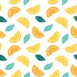 Seamless pattern with slices of citrus Graphic drawing of orange, lemon and leaves. vector illustration