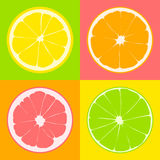 Seamless pattern. Slices of citrus: lime, lemon, grapefruit, orange on background of yellow, pink, green and orange color squares. Royalty Free Stock Images