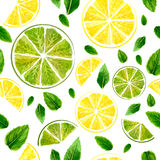 Seamless pattern with slices of lime, lemon and mint leaves on w Royalty Free Stock Photos
