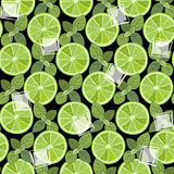 Seamless pattern with slices of  lime, mint and ice. Royalty Free Stock Photo