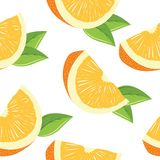 Seamless pattern with slices of orange Royalty Free Stock Photo