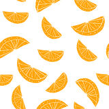 Seamless pattern with slices of orange on white background. Vector illustration.  Stock Photos