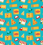 Seamless Pattern with Slices of Pizza and Colorful Icons Service of Delivery of Pizza Stock Image