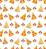 Seamless Pattern with Slices of Pizza Royalty Free Stock Photo