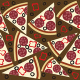 Seamless pattern with slices of salami pizza Stock Image