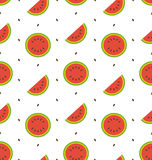 Seamless Pattern with Slices and Seeds Of Watermelon Stock Photography