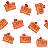 Seamless pattern with slices of tasty cake with cherry Royalty Free Stock Images