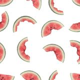 Seamless pattern of slices of watermelon being eaten stock images