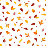 Seamless pattern with small autumn leaves on white. Vector illustration. Royalty Free Stock Photography