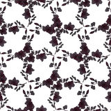 Seamless pattern small black flowers and branches on a white background. Floral background. Watercolor stock images