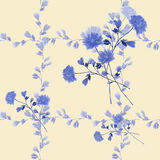 Seamless pattern small blue flowers and bouquets and blue branches on a beige background. Watercolor royalty free stock photo