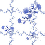 Seamless pattern small blue flowers and bouquets and blue branches on a white background. Watercolor Royalty Free Stock Photo