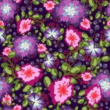 Seamless pattern of small bouquets pink and blue flowers , violet berries green leaves. vector print on  background. Stock Photography