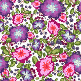 Seamless pattern of small bouquets pink and blue flowers , violet berries  green leaves. vector print on white Stock Photos