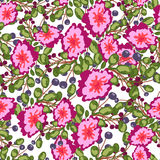 Seamless pattern of small bouquets pink flowers , blue berries and green leaves.  vector print on white background. Royalty Free Stock Photo