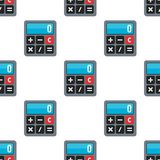 Small Calculator Icon Seamless Pattern. A seamless pattern with small calculator flat icon, isolated on white background. Useful also as design element for Stock Image