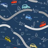 Seamless pattern with small cars and road signs on dark navy background. Seamless vector pattern with small hand-drawn cars and road signs on dark navy vector illustration