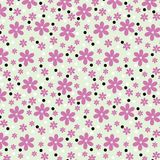 Seamless pattern of small daisies and dots. stock image