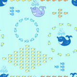 Seamless pattern with small fishes and whales Royalty Free Stock Image