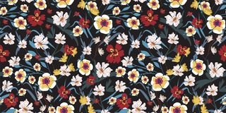 Seamless pattern with small flowers on a dark background. Modern fashionable floral texture for fabric, wallpaper, interior, tiles, print, textiles, packaging Stock Photo