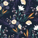 Seamless pattern with small flowers on a dark background. Modern fashionable floral texture for fabric, wallpaper, interior, tiles, print, textiles, packaging Stock Images