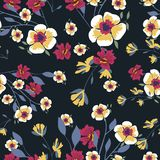 Seamless pattern with small flowers on a dark background. Modern fashionable floral texture for fabric, wallpaper, interior, tiles, print, textiles, packaging Royalty Free Stock Photos