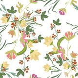 Seamless pattern with small flowers on a dark background. Seamless pattern with small flowers on a white background. Modern fashionable floral texture for fabric Stock Photo