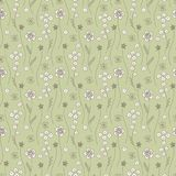Seamless pattern with small flowers on a green background Stock Photo